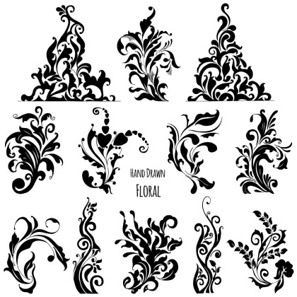 Hand Drawn Decorative Floral Vector and Photoshop Brush Pack-01