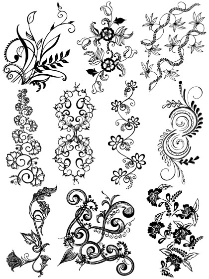 Hand Drawn Decorative Floral Vector and Photoshop Brush Pack-02