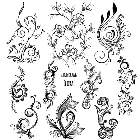 Hand Drawn Decorative Floral Vector and Photoshop Brush Pack-03