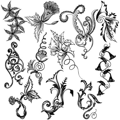 Hand Drawn Decorative Floral Vector and Photoshop Brush Pack-04
