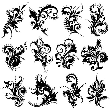Hand Drawn Decorative Floral Vector Brush Pack-02