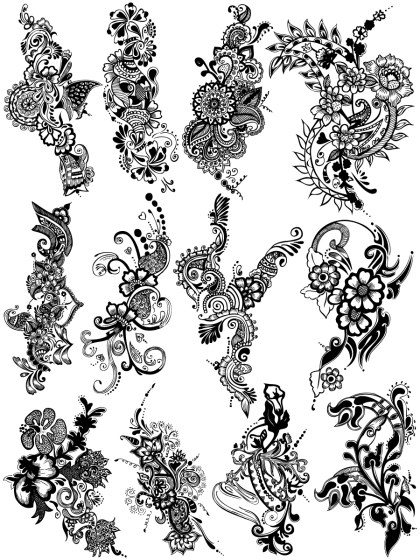 Hand Drawn Decorative Floral Vector Brush Pack-03