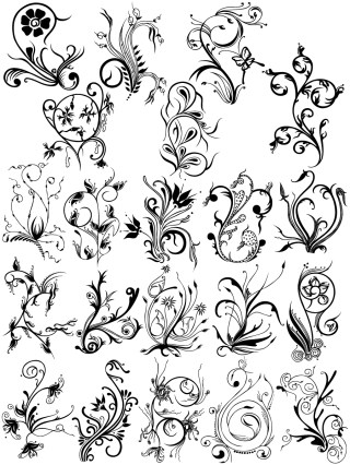 Hand Drawn Decorative Floral Vector Brush Pack-04