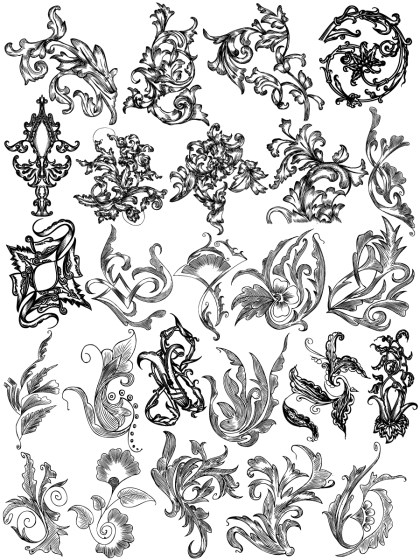 Hand Drawn Floral Ornaments Vector Brushes Pack-01