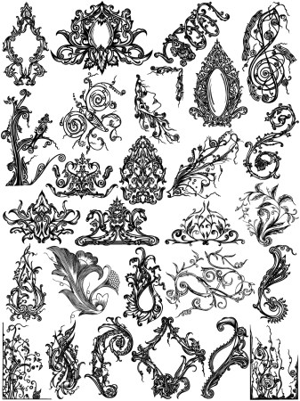 Hand Drawn Floral Ornaments Vector Brushes Pack-02