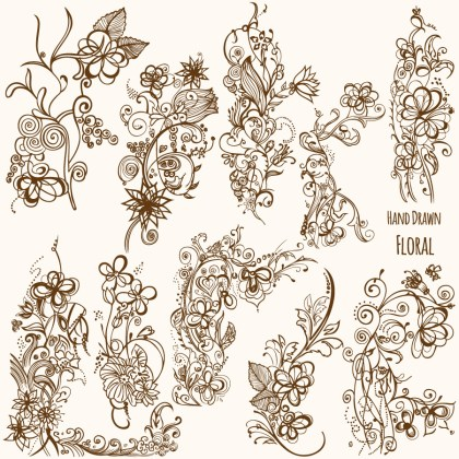 Hand Drawn Floral Vector Illustrator and Brush Pack-01