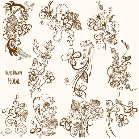 Hand Drawn Floral Vector Illustrator and Brush Pack-02