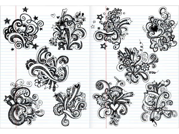 Hand Drawn Notebook Doodle Flower Vector and Brush Pack-01