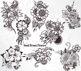 Hand Drawn Flowers Vector and Photoshop Brush Pack-01