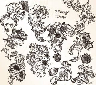 Vintage Flower Ornaments Vector and Photoshop Brush Pack-01