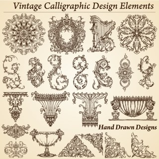 Vintage Calligraphic Design Elements Vector and Brush Pack-01