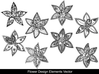 Flower Design Elements Vector and Photoshop Brushes 01