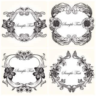 Vintage Floral Frames Vector and Photoshop Brushes 01