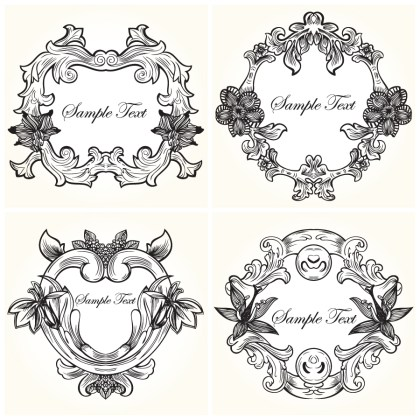 Vintage Floral Frames Vector and Photoshop Brushes 02