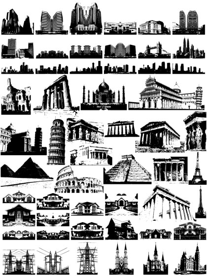 Building Silhouettes Vector and Photoshop Brush Pack-02