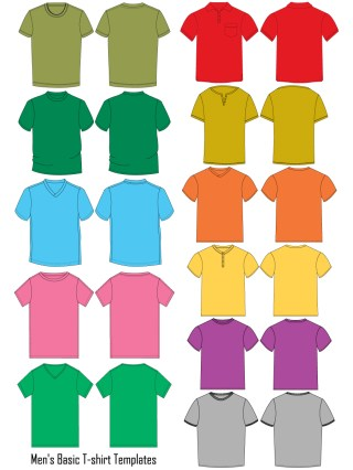 Men's Basic T-shirt Template Vector and PSD Pack-01