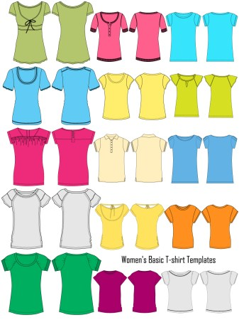 Women's Basic T-shirt Template Vector and PSD Pack-01