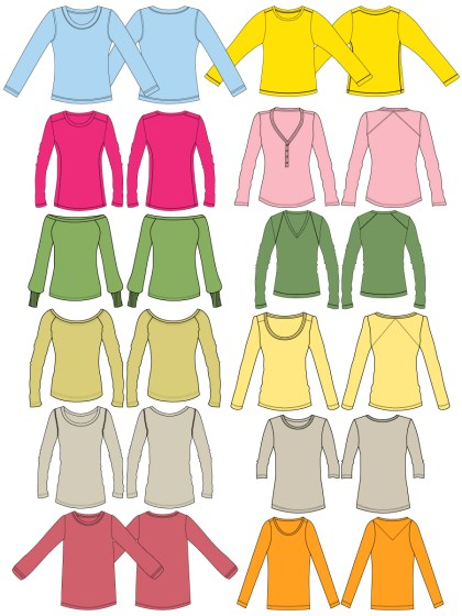 Women's Long Sleeve T-shirt Template Vector and PSD Pack-01