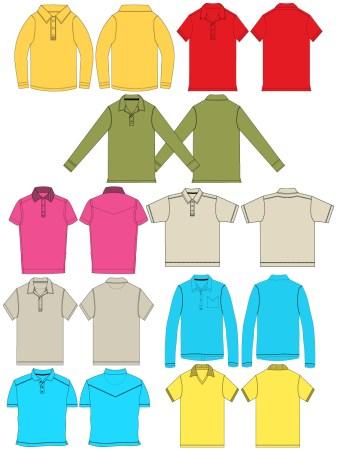 Men's Collar T-shirt Template Vector and PSD Pack-01