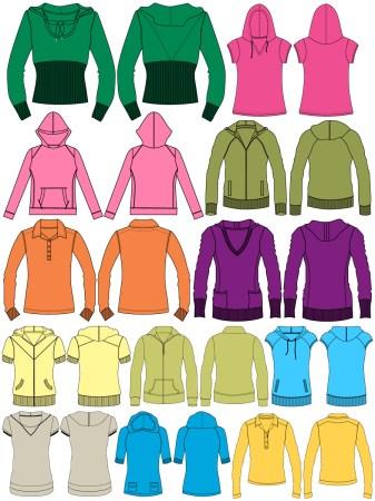 Women's Hoodies & Sweatshirts Template Vector and PSD Pack-01