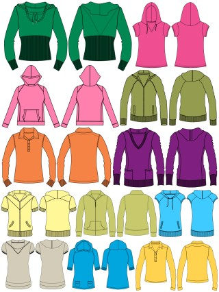 Women's Hoodies & Sweatshirts Template Vector and PSD Pack-01