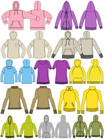 Women's Hoodies & Sweatshirts Template Vector and PSD Pack-02