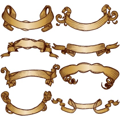 Hand Drawn Ribbon Banners Vector and Photoshop Brush Pack-01