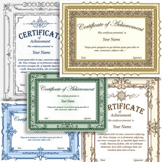 Certificate Border Template Vector and Photoshop Brush Pack-01