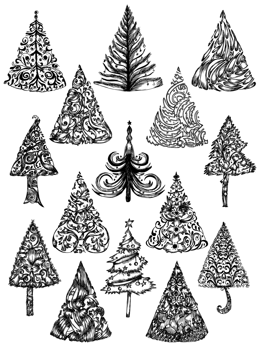 Christmas Tree Vector.Hand Drawn Christmas Tree Vector And Photoshop Brush Pack 01