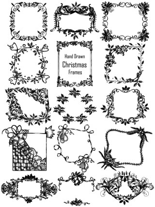 Hand Drawn Christmas Frames Vector and Photoshop Brush Pack-01