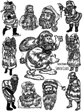 Hand Drawn Santa Claus Vector and Photoshop Brush Pack-01