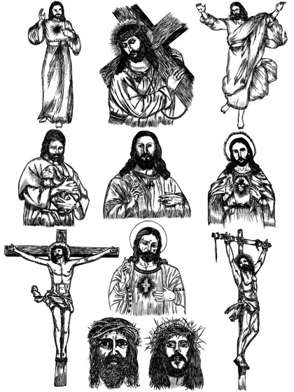Hand Drawn Jesus Christ Vector and Photoshop Brush Pack-01