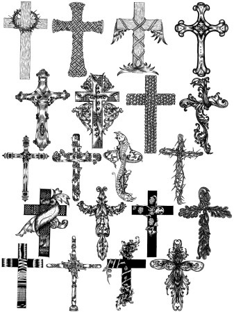 Hand Drawn Cross Vector and Photoshop Brush Pack-01