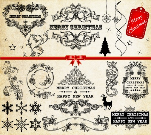 Vintage Christmas Decoration Elements Vector and Brush Pack-01