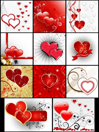 Valentine's Day Card Background Vector Pack-01