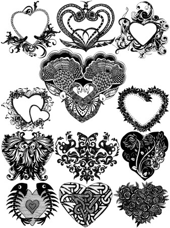 Hand Drawn Heart Vector and Photoshop Brush Pack-01