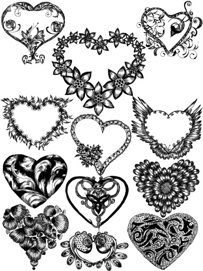 Hand Drawn Heart Vector and Photoshop Brush Pack-03