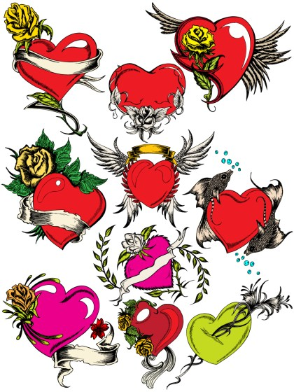 Hand Drawn Heart Vector and Brushes Pack-01