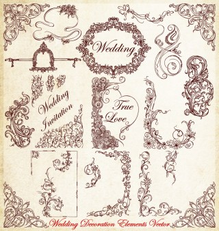 Ornamental Wedding Decoration Elements Vector Brush Pack-01