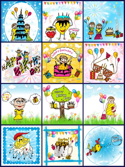 Birthday Background Vector Pack-01