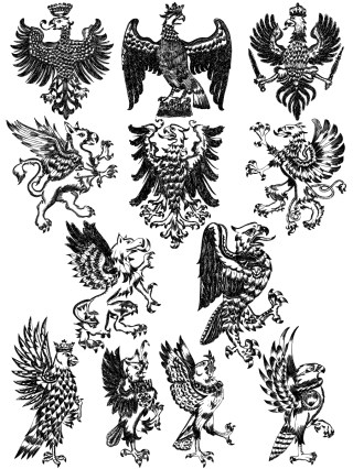 Hand Drawn Heraldic Eagle Vector and Photoshop Brush Pack-01