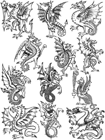 Hand Drawn Heraldic Dragon Vector and Photoshop Brush Pack-01