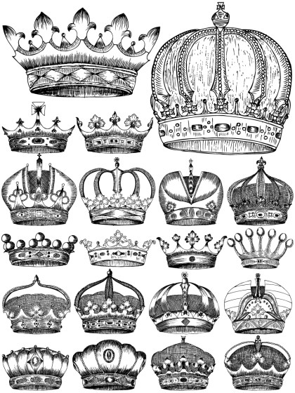 Hand Drawn Heraldic Crowns Vector and Photoshop Brush Pack-01