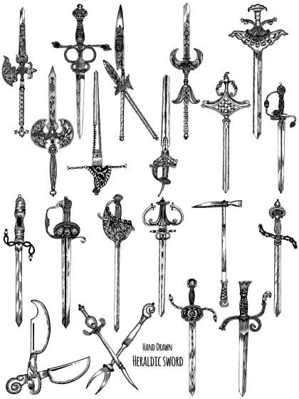 Hand Drawn Heraldic Sword Vector and Photoshop Brush Pack-01