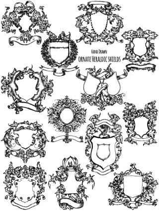 Hand Drawn Ornate Heraldic Shield Vector and Brush Pack-01