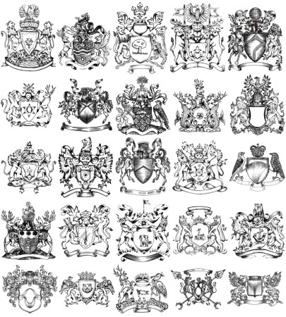 Hand Drawn Sketch Heraldic Coat of Arms Vector and Brush Pack-01