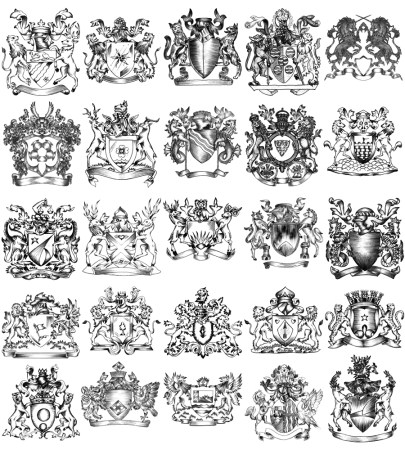 Hand Drawn Sketch Heraldic Coat of Arms Vector and Brush Pack-02