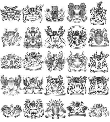 Hand Drawn Sketch Heraldic Coat of Arms Vector and Brush Pack-04