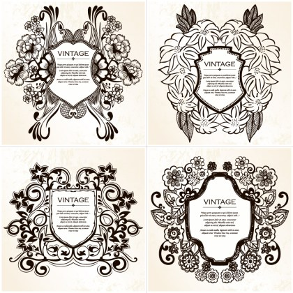 Coat of Arms Shield with Floral Ornament Vector and Brushes Set 01