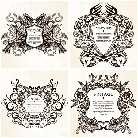 Coat of Arms Shield with Floral Ornament Vector and Brushes Set 02